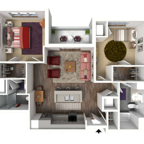 2 Bedroom Floor Plan 2 3D1 | Luxury Madison Apartments | 22 Slate