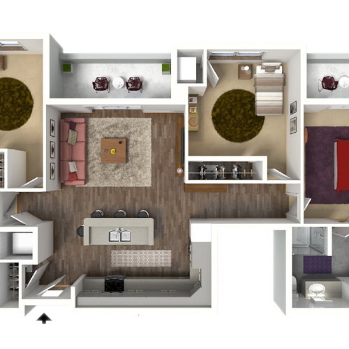 3 Bedroom Floor Plan 1 3D | Luxury Madison Apartments | 22 Slate