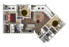 3 Bedroom Floor Plan 2 3D | Luxury Madison Apartments | 22 Slate