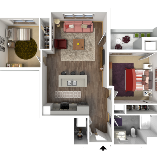 1 Bedroom Floor Plan 7 2D | Luxury Madison Apartments | 22 Slate