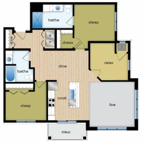 Floor Plan E1 | Elan | Apartments in Fitchburg, WI