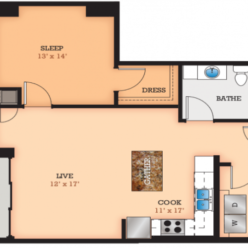 Floor Plan J | Domain | Apartments in Madison, WI