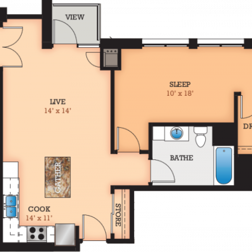 Floor Plan R1 | Domain | Apartments in Madison, WI