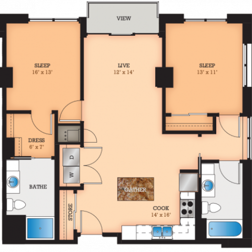 Floor Plan F2 | Domain | Apartments in Madison, WI