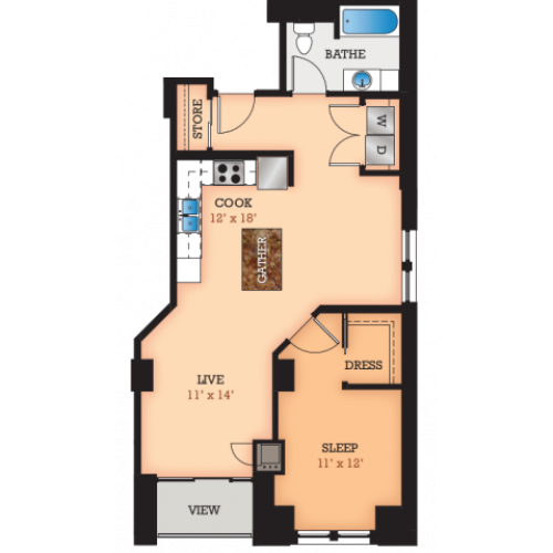 Floor Plan F1 | Domain | Apartments in Madison, WI