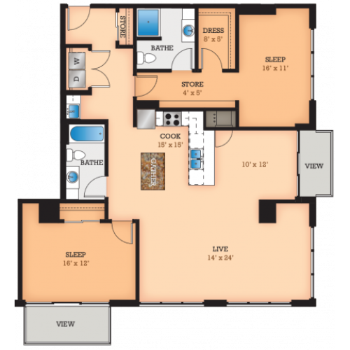 Floor Plan W3 | Domain | Apartments in Madison, WI