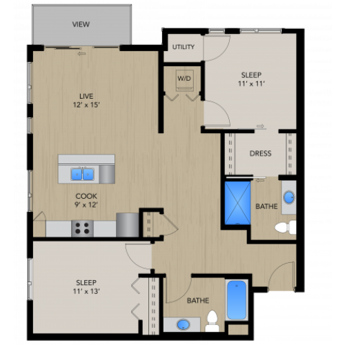 Floor Plan 2B | 1505 Apartments | Apartments in Grafton, WI
