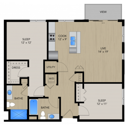 Floor Plan 2E | 1505 Apartments | Apartments in Grafton, WI