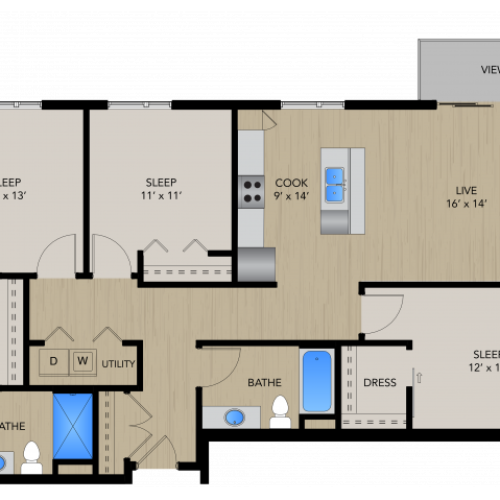 Floor Plan 3A | 1505 Apartments | Apartments in Grafton, WI