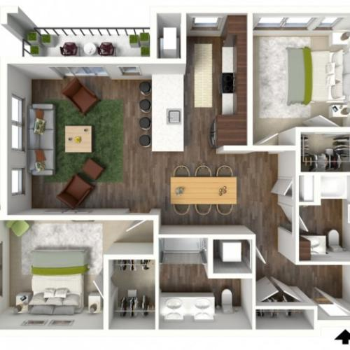 Floor Plan D2.1 | Jade at North Hills | Apartments in Menomonee Falls, WI