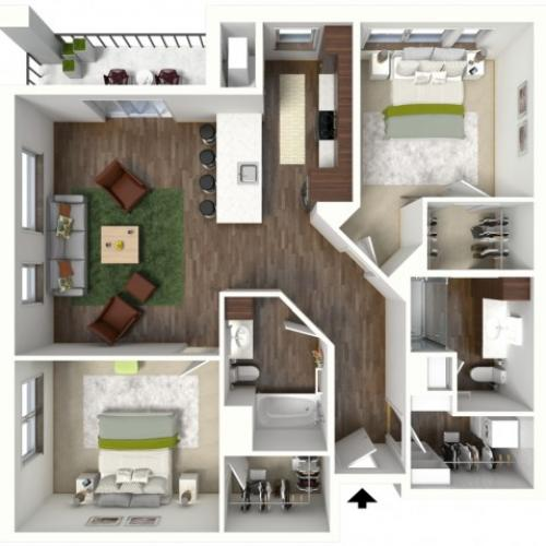 Floor Plan D1 | Jade at North Hills | Apartments in Menomonee Falls, WI