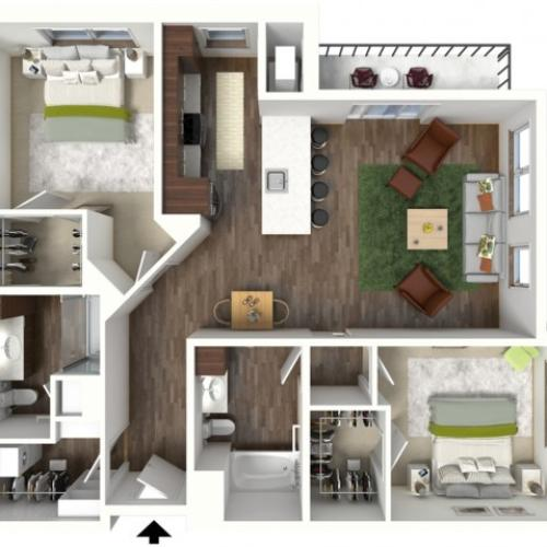 Floor Plan D2 | Jade at North Hills | Apartments in Menomonee Falls, WI