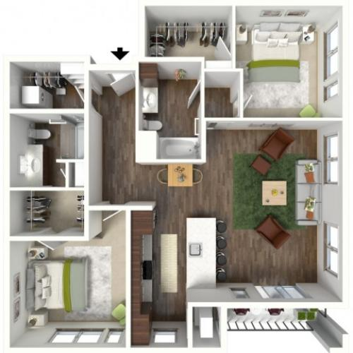 Floor Plan D3 | Jade at North Hills | Apartments in Menomonee Falls, WI