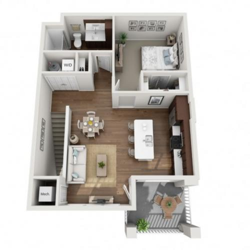 Floor Plan 1E | Seasons at Orchard Hills | Apartments in Oak Creek, WI