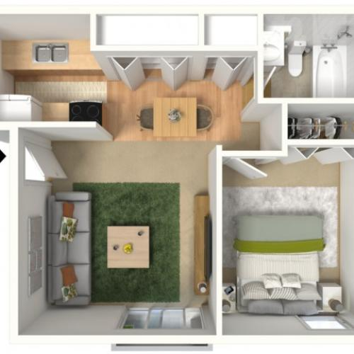 1 Bedroom Floor Plan | Creekwood Apartments