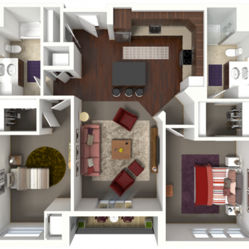 Floor Plan D1 | 50Twenty | Apartments in Madison, WI