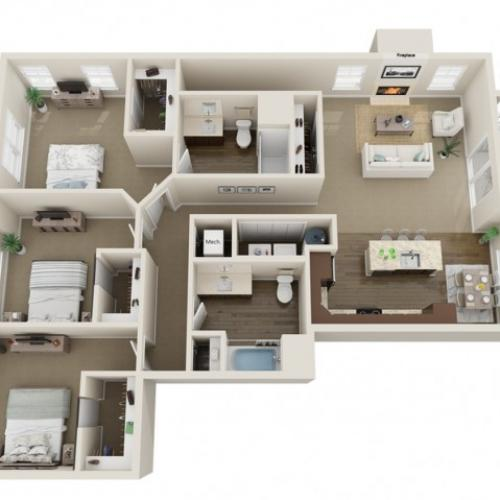 Floor Plan F | High Bluff Townhomes | Apartments in Grafton, WI
