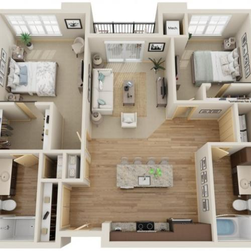 Floor Plan D1 | The Junction | Apartments in Menomonee Falls, WI