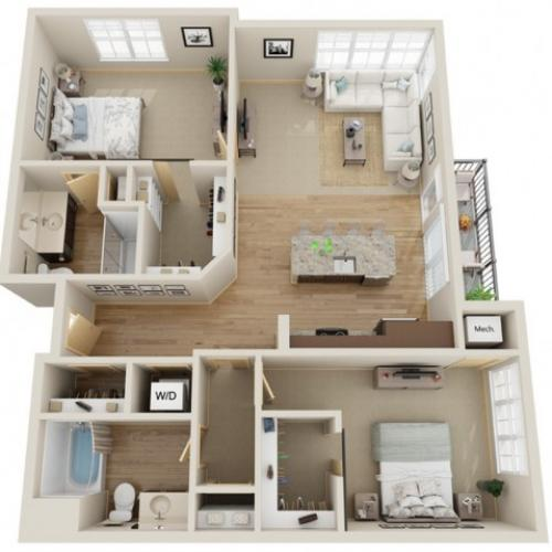 Floor Plan D3 | The Junction | Apartments in Menomonee Falls, WI