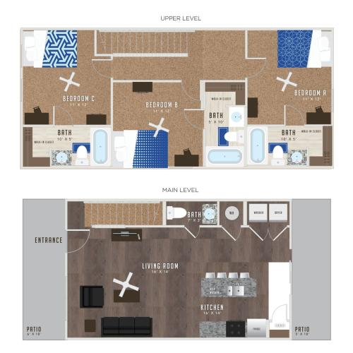 3 Bedroom Floor Plan | Studio Apartments Lawrence KS | Lawrence