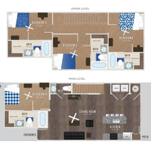 4 Bedroom Floor Plan | KU Off Campus Housing | Lawrence