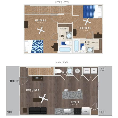 2 Bedroom Floor Plan | Apartments In Lawrence KS Near KU | Lawrence