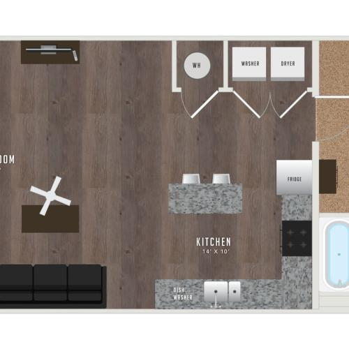 1 Bedroom Floor Plan | Student Apartments KU | Lawrence