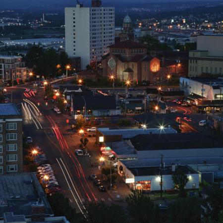 Nighttime views at apartments in downtown Tacoma, WA