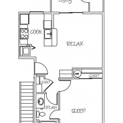 1 Bedroom Floor Plan | Puyallup Apartment | Silver Creek