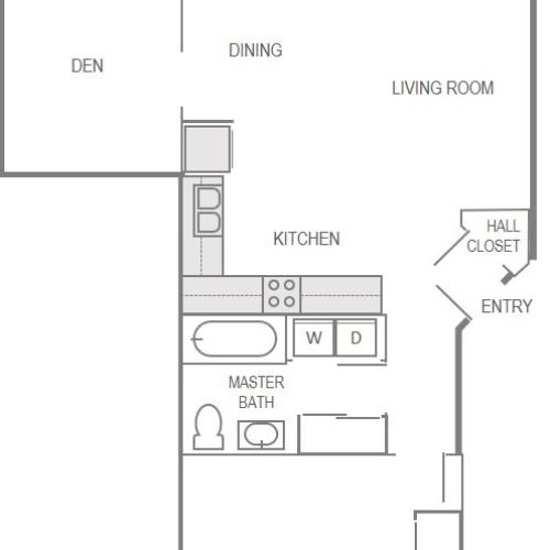 Nantucket Gate Apartment Layout- 2 Bedroom (Den)