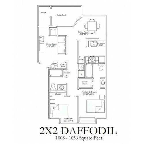 2x2 Deluxe Floorplan
