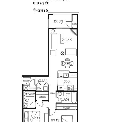 Two Bedroom, Two Bath Apartment at the 4425