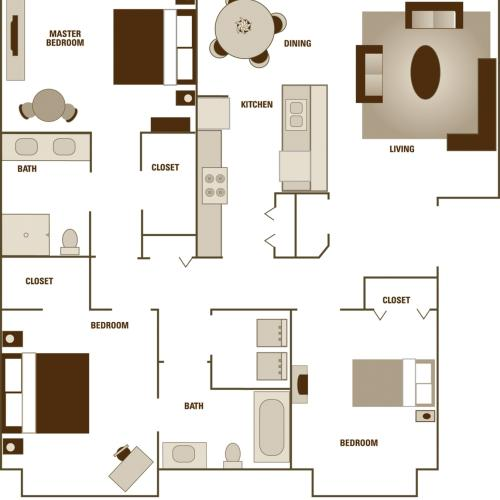 Alder Court, 3 bedroom floorplan
