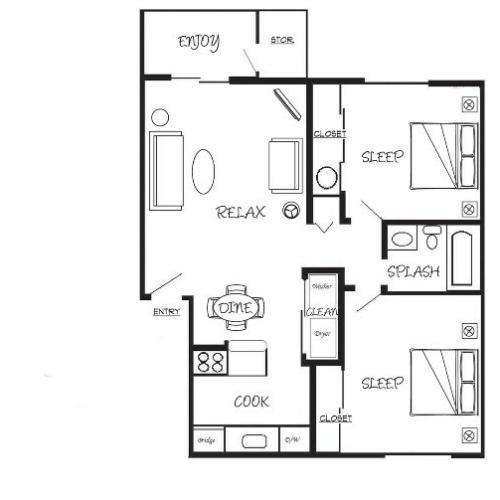 2x1 Bed/Bath = 800 sq ft