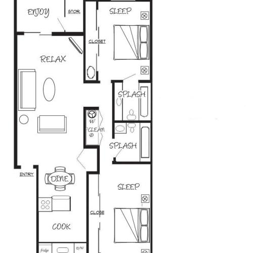 2x2 Bed/Bath = 900 sq ft