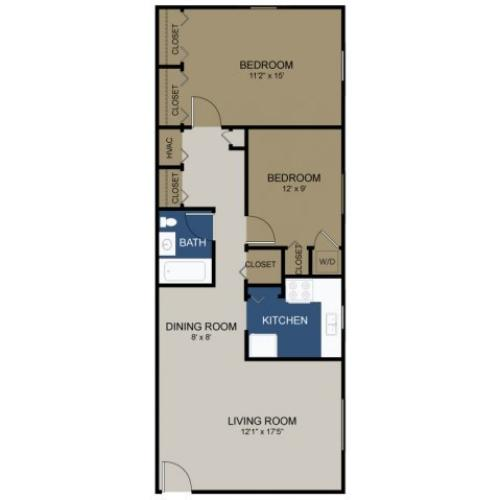 Two-bedroom Stratford floor plan at Wellington Woods
