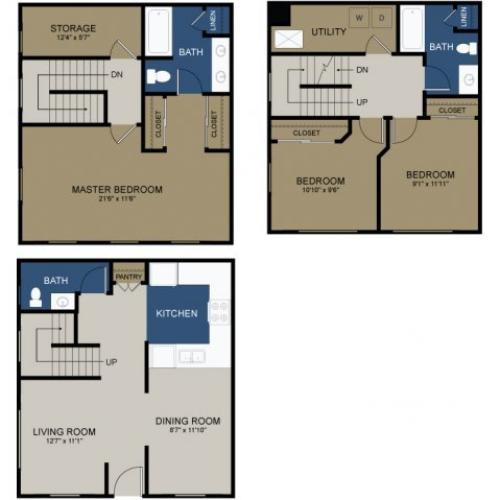 Three-bedroom townhome floor plan at the Commons at Fallsington