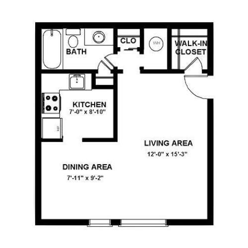 Studio floor plan at Stonybook Deptford, NJ apartments.