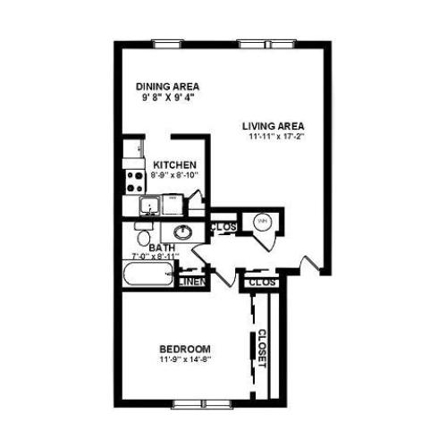 One bedroom floor plan at our Deptford, NJ apartments.