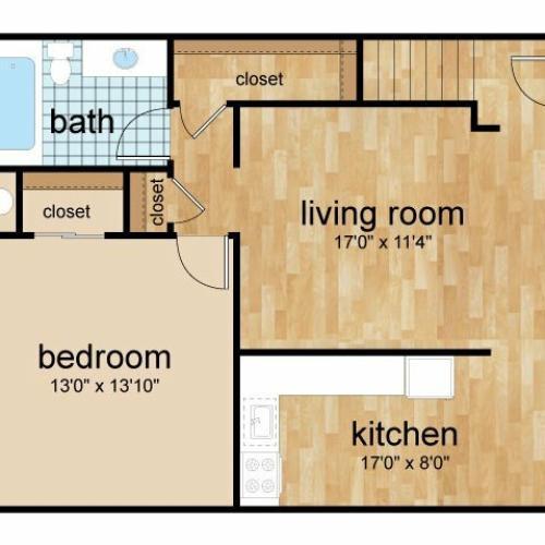 1 Bedroom Floor Plan | Lumberton Apartments Lumberton Nj | Sterling Glen