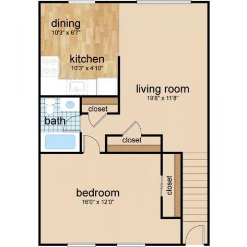 1 Bedroom Floor Plan | Burlington Apartments | Northgate Village
