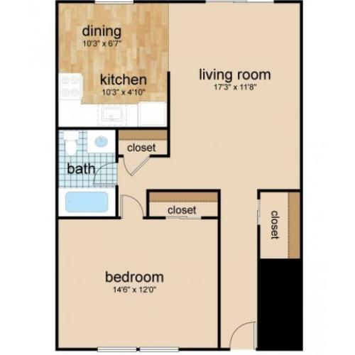 1 Bdrm Floor Plan | One Bedroom Apartments Burlington NJ | Northgate Village