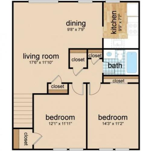 2 Bedroom Floor Plan | Apartments Burlington | Northgate Village