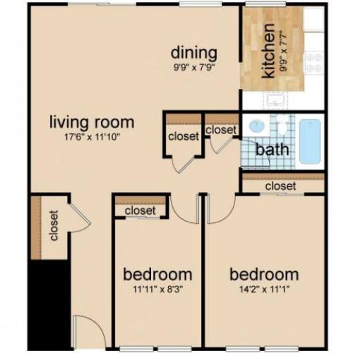 2 Bdrm Floor Plan | Luxury Apartments In Burlington NJ | Northgate Village