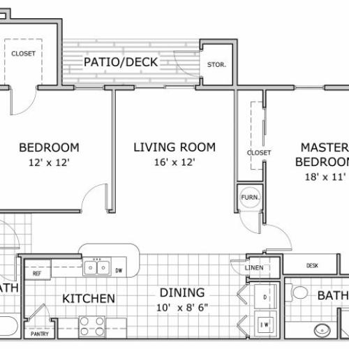 floor plan image of 2 bedroom apartment at Watermill Park