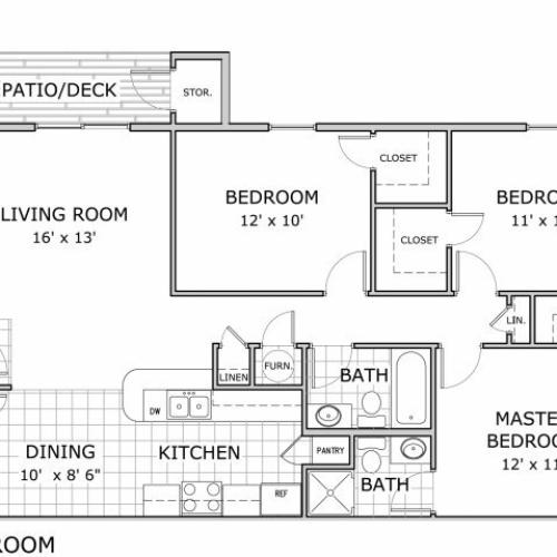 Watermill Park 3 bedroom apartment home floor plan image