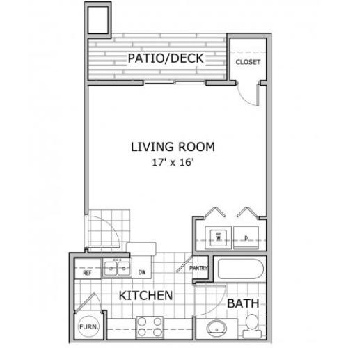 floor plan image of studio apartment at Cambridge Park