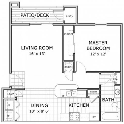 floor plan image of a 1 bedroom apartment at Cambridge Park