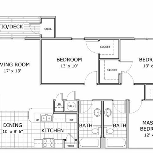 floor plan image of 3 bedroom and 2 bathroom apartment home at Coryell Crossing