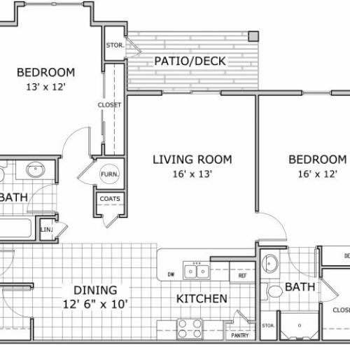 floor plan image of 2 bedroom apartment at Marion Park